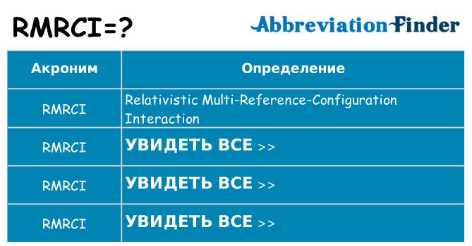 Что означает аббревиатура rmrci