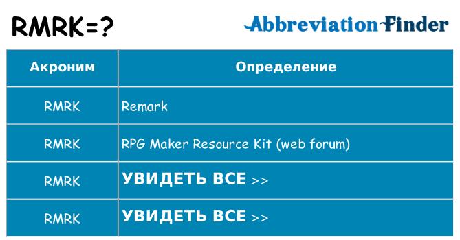 Что означает аббревиатура rmrk