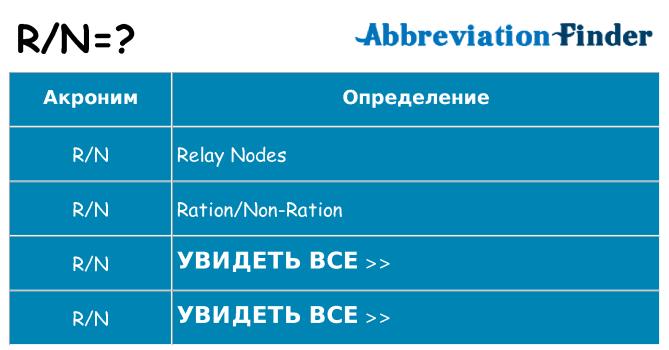 Что означает аббревиатура rn