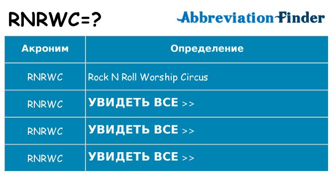 Что означает аббревиатура rnrwc