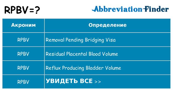 Что означает аббревиатура rpbv