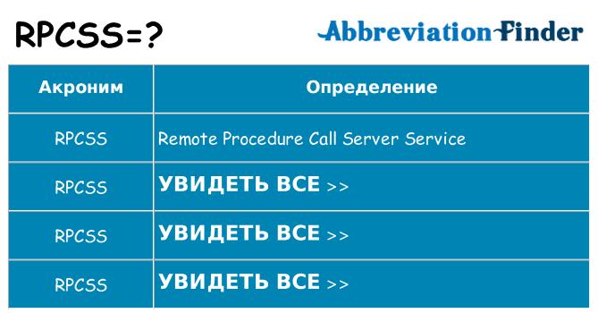 Что означает аббревиатура rpcss