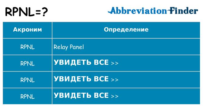 Что означает аббревиатура rpnl