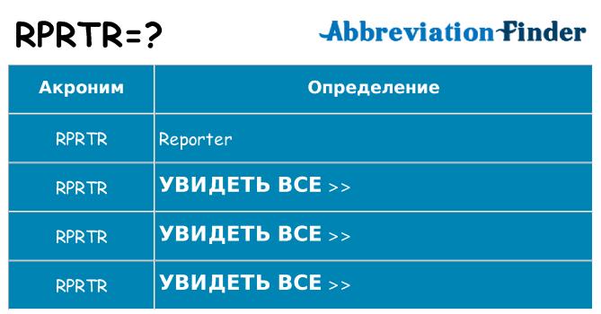 Что означает аббревиатура rprtr