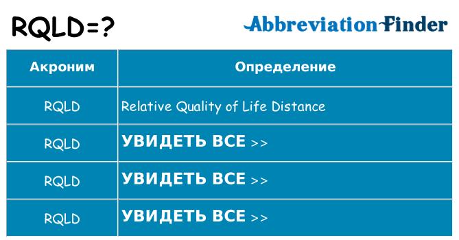 Что означает аббревиатура rqld