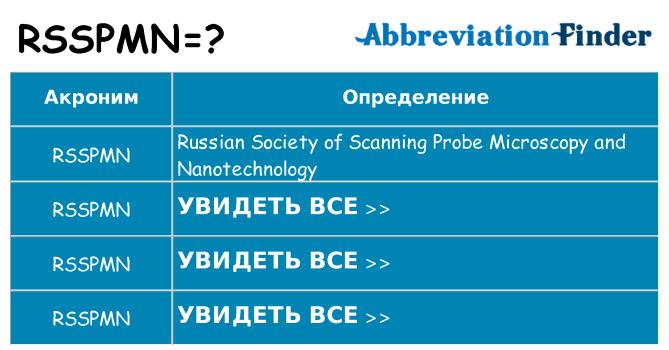 Что означает аббревиатура rsspmn