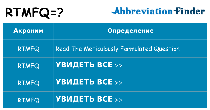 Что означает аббревиатура rtmfq
