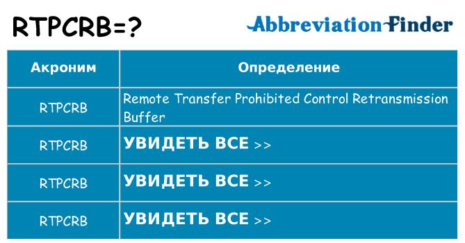 Что означает аббревиатура rtpcrb