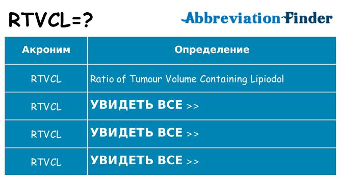 Что означает аббревиатура rtvcl