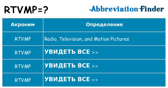 Что означает аббревиатура rtvmp