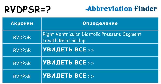 Что означает аббревиатура rvdpsr