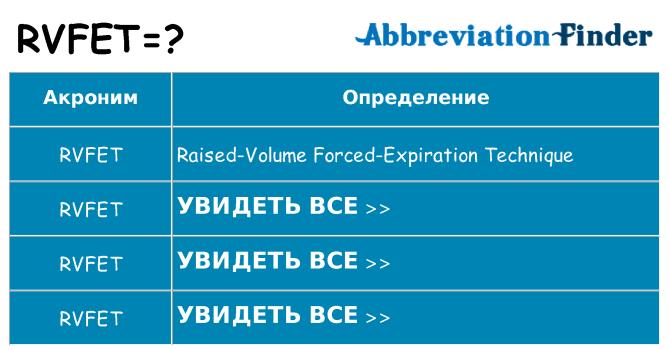 Что означает аббревиатура rvfet