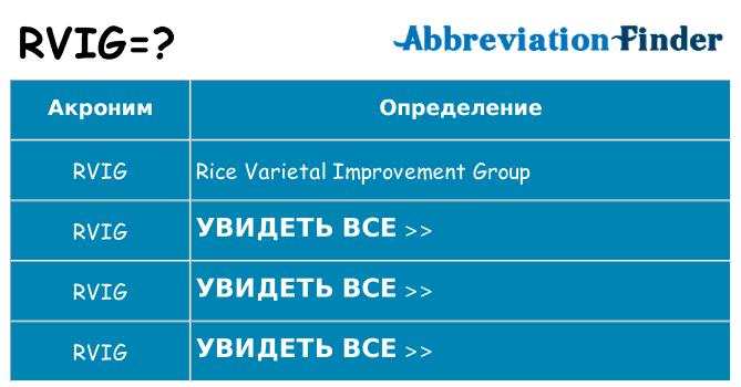 Что означает аббревиатура rvig