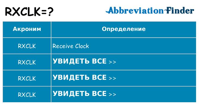 Что означает аббревиатура rxclk