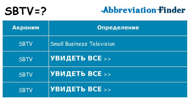 Что означает аббревиатура sbtv