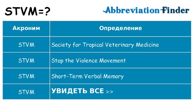 Что означает аббревиатура stvm