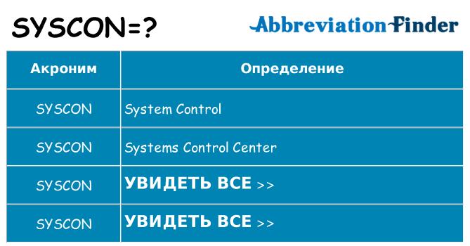 Что означает аббревиатура syscon