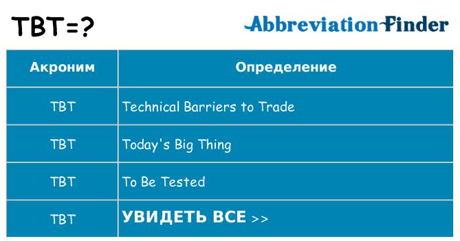 Что означает аббревиатура tbt