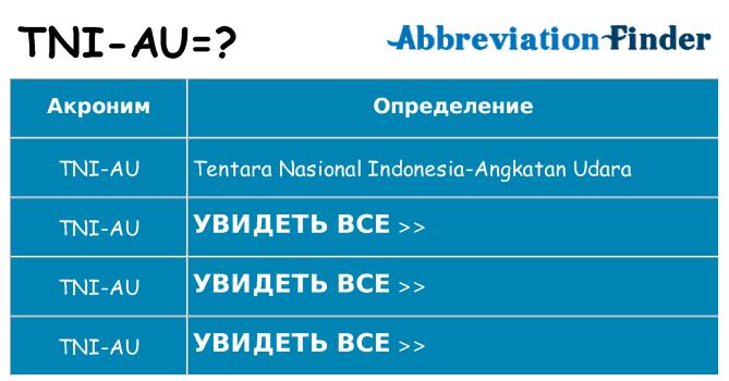 Что означает аббревиатура tni-au