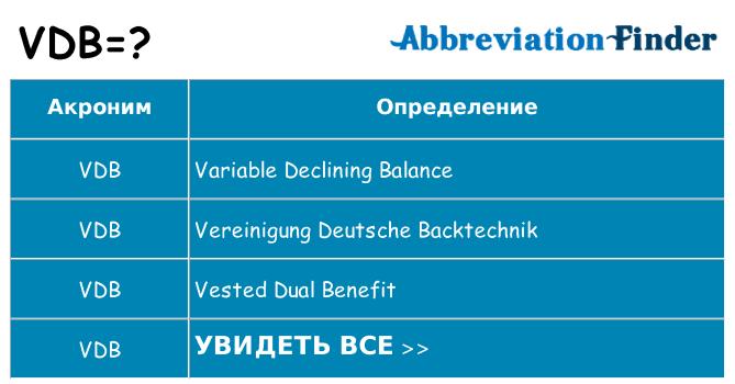 Что означает аббревиатура vdb