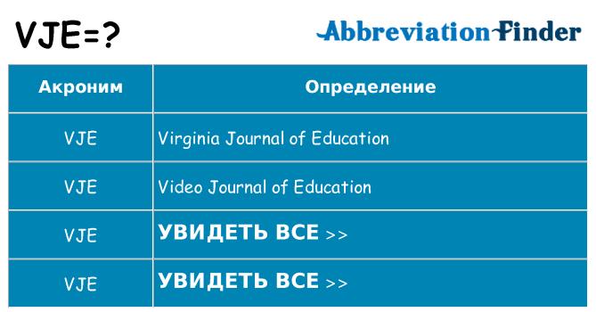 Что означает аббревиатура vje