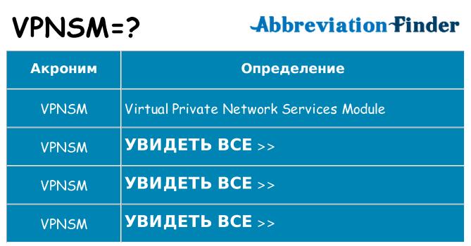 Что означает аббревиатура vpnsm
