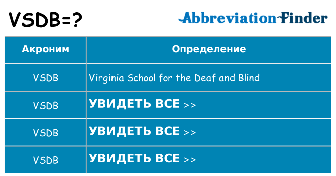Что означает аббревиатура vsdb