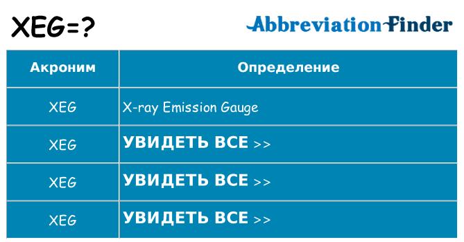 Что означает аббревиатура xeg