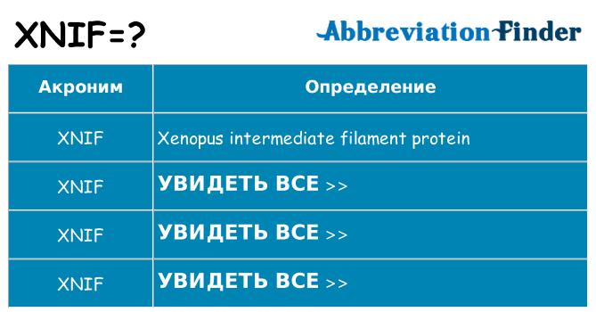 Что означает аббревиатура xnif