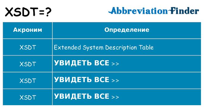 Что означает аббревиатура xsdt