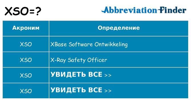 Что означает аббревиатура xso