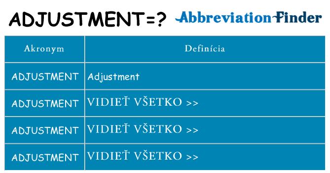 Čo stojí za adjustment