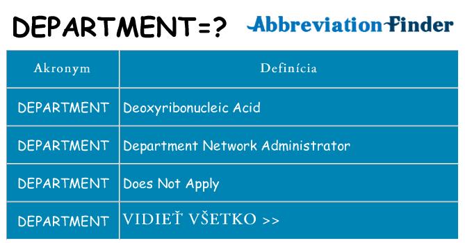 Čo stojí za department