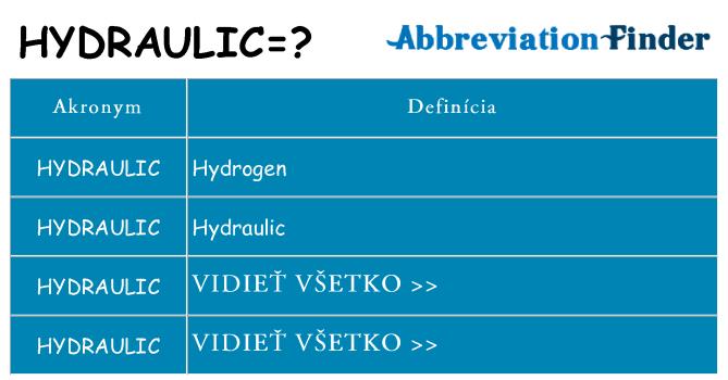 Čo stojí za hydraulic
