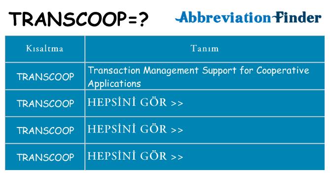 transcoop ne anlama geliyor