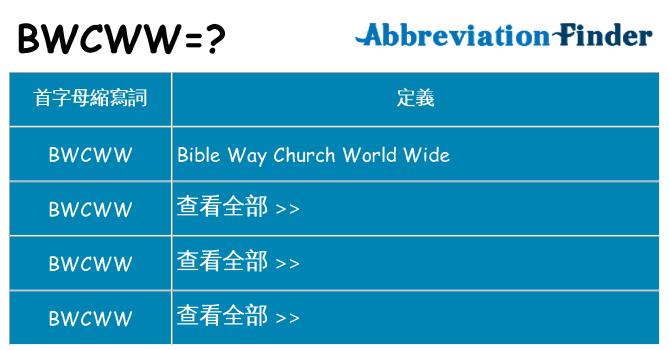 bwcww 代表什麼