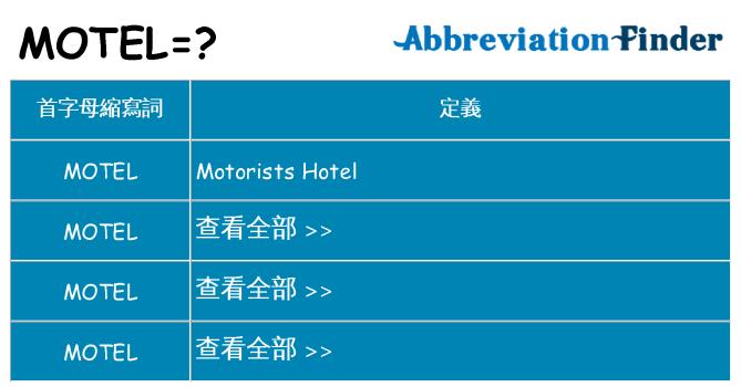 motel 代表什麼