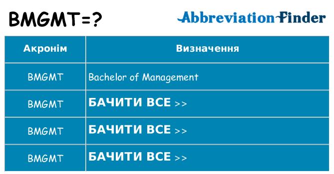 Що bmgmt означають