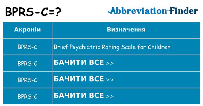 Що bprs-c означають