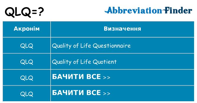 Що qlq означають