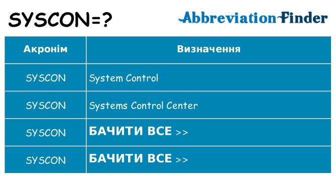 Що syscon означають