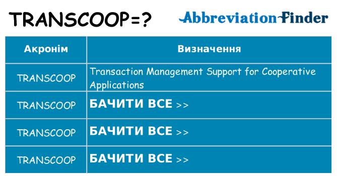 Що transcoop означають