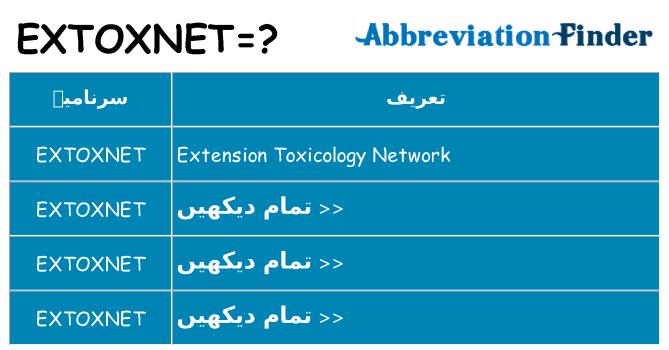کیا extoxnet کھڑا کرتا ہے کے لئے