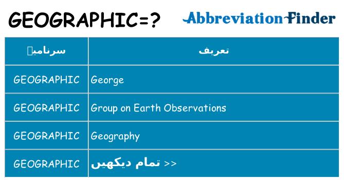 کیا geographic کھڑا کرتا ہے کے لئے