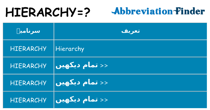 کیا hierarchy کھڑا کرتا ہے کے لئے