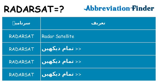 کیا radarsat کھڑا کرتا ہے کے لئے