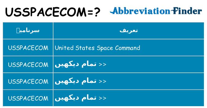 کیا usspacecom کھڑا کرتا ہے کے لئے
