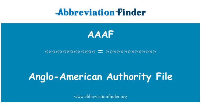 AAAF: Archivo de autoridad angloamericano
