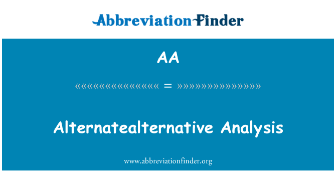 AA: Analisis Alternatealternative