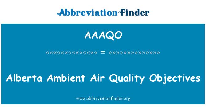AAAQO: Ciljevi kvalitete okolnog zraka Alberta